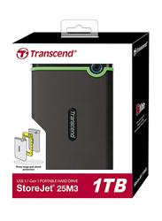 Transcend 1TB HDD StoreJet TS1TSJ25M3 External Portable Hard Drive USB 3.0, Grey