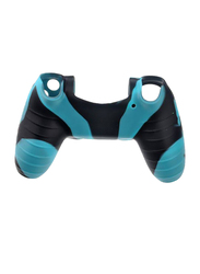 Silicone Skin Case Cover for Sony PlayStation PS4 Controller, with Thumb Stick Grip Cap Cover, Blue/Black