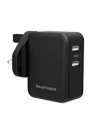 Rav Power Dual USB Wall Charger USB Type A, Black