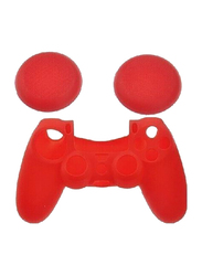 Silicone Skin Case Cover for Sony PlayStation PS4 Controller, with 2 Pieces Joystick Thumbstick Caps, Red