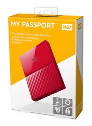 Western Digital 1TB HDD My PassportPortable Hard Drive, USB 3.0, WDBYNN0010BRD, Red