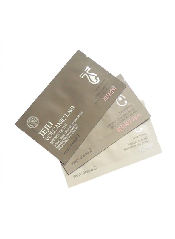The Face Shop Jeju Volcanic Lava 3-Step Deep Cleansing Nose Strips, 3 Strips