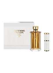 Prada 2-Piece Milano La Femme Travel Perfume Gift Set for Women, 100ml EDP, 8ml EDP Refillable Spray