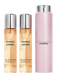 Chanel 3-Piece Chance Perfume Set for Women, 3 x 20ml EDT Refills
