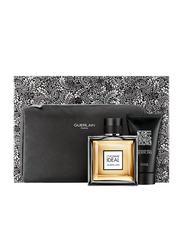 Guerlain 3-Piece Guerlain L'Homme Ideal Gift Set for Men, 100ml EDT, Cosmetic Bag, 75ml Shower Gel