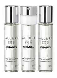 Chanel 3-Piece Allure Sport Travel Spray Refill Set for Men, 3 x 20ml EDT Refills