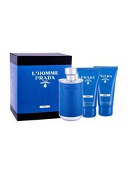 Prada 3-Piece Milano L'Homme L'eau Gift Set for Men, 100ml EDT, 75ml Facial Cleanser, 75ml Shower Cream