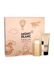 Mont Blanc 3-Piece Gift Set Emblem Absolu EDT for Men, EDT 100ml, EDT 7.5ml, After shave Gel 100ml