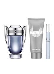 Paco Rabanne 3-Piece Invictus Gift Set for Men, 100ml EDT, 10ml EDT Mini Set, 100ml All Over Shampoo