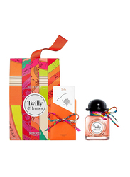 Hermes 3-Piece Twilly D'Hermes Gift Set for Women,  50ml EDT, Single Knotting Card,  Silk Tie