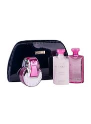 Bvlgari 4-Piece Omnia Pink Sapphire Gift Set for Women, 65ml EDT, 75ml Body Lotion, 75ml Shower Gel, Cosmetic Bag