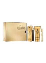 Paco Rabanne 3-Piece 1 Million Gift Set for Men, 100ml EDT,10ml EDT, 100ml Shower Gel