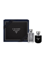 Prada 2-Piece L'homme Gift Set for Men, 100ml EDT, 125ml After Shave Balm