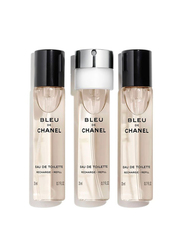 Chanel 3-Piece Bleu De Chanel Travel Spray Refill Set for Men, 3 x 20ml EDT Refills