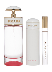 Prada 3-Piece Candy Kiss Gift Set for Women, 80ml EDP, 10ml Mini EDP, 75ml Body Lotion