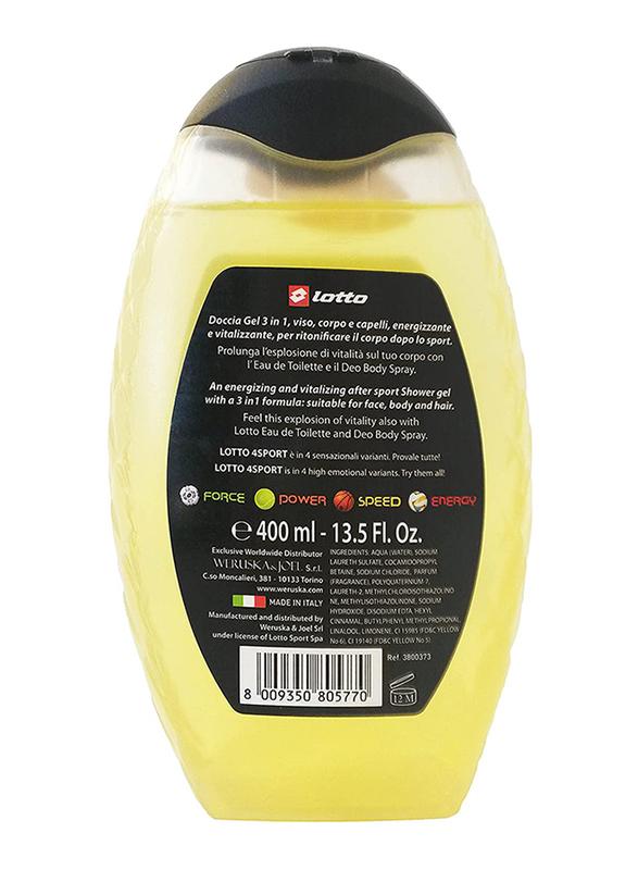 Lotto 3-in-1 Energy Hair & Body Shower Gel & Shampoo, 400ml