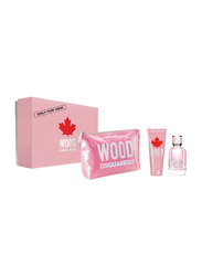Dsquared2 3-Piece Wood Pour Femme Gift Set for Women, 100ml EDT, 100ml Charming Body Lotion, Pink Wood Pouch