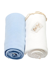 Bebitza Antibacterial Baby Wraps, 2 Pack, Blue/Cream