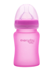 Everyday Baby Glass Heat Sensing Baby Bottle, 150ml, Cerise pink