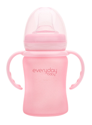 Everyday Baby Glass Sippy Cup Shatter Protected Baby Bottle, 150ml, Rose Pink