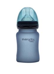 Everyday Baby Glass Heat Sensing Baby Bottle, 150ml, Blueberry