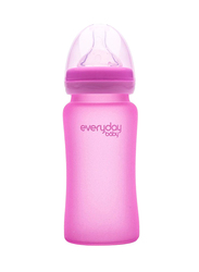 Everyday Baby Glass Heat Sensing Baby Bottle, 240ml, Pink