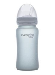 Everyday Baby Glass Straw Bottles, 240ml, Quite Grey