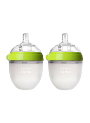 Comotomo Natural Feel Baby Bottle, Double Pack, 150ml, Green/Clear