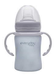 Everyday Baby Glass Sippy Cup Shatter Protected Baby Bottle, 150ml, Quite Grey