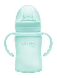 Everyday Baby Glass Sippy Cup Shatter Protected Baby Bottle, 150ml, Mint Green