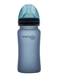 Everyday Baby Glass Heat Sensing Baby Bottle, 240ml, Blueberry