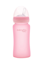 Everyday Baby Glass Straw Bottle 240ml, Pink Rose