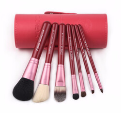 Zoreya Natural Hair Make-up Brushes Set, 7 Brushes + Bag, Pink