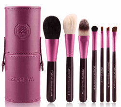 Zoreya Natural Hair Make-up Brushes Set, 7 Brushes + Bag, Purple
