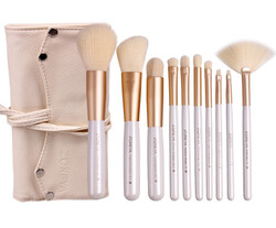 Zoreya Natural Hair Make-up Brushes Set, 10 Brushes + Bag, Beige