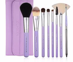Zoreya Natural Hair Make-up Brushes Set, 8 Brushes + Bag, Purple
