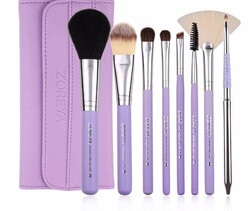 Zoreya Natural Hair Make-up Brushes Set, 8 Brushes + Bag, Purple