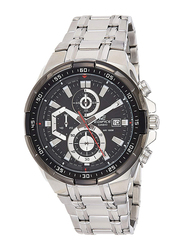 Casio Edifice Analog Watch for Men with Stainless Steel Band, Water Resistance and Chronograph, EFR-539D-1AVUDF, Silver-Black/Grey