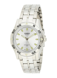 Casio Enticer Analog Quartz Watch for Men with Stainless Steel Band, Water Resistant, MTP-1243D-7AVDF, White-Silver