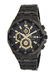 Casio Edifice Analog Watch for Men with Stainless Steel Band, Water Resistance and Chronograph, EFR-539BK-1AVUDF, Black-Gold/Black