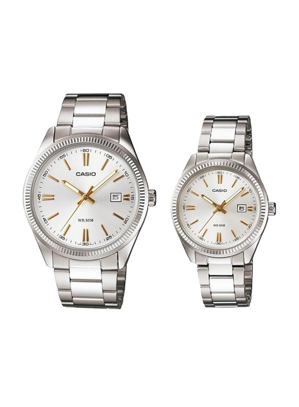 Casio Enticer Analog Quartz Couple Unisex Watch Set with Stainless Steel Band, Water Resistant, MTP/LTP-1302D-7A2V, Silver