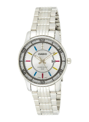 Casio Enticer Analog Quartz Watch for Women with Stainless Steel Band, Water Resistant, LTP1358D-7A, Silver