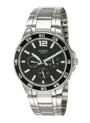 Casio Enticer Analog Quartz Watch for Men with Stainless Steel Band, Water Resistant and Chronograph, MTP-1300D-1A, Silver-Black