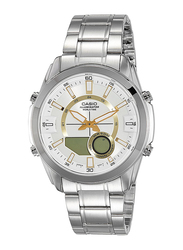 Casio Enticer Analog/Digital Quartz Watch for Men with Stainless Steel Band, Water Resistant, AMW810D-9AVDF, Silver-Gold/Beige