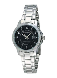 Casio Analog Quartz Watch for Women with Stainless Steel Band, Water Resistant, LTP-V004D-1B, Silver-Black