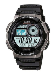 Casio Youth Series Digital Watch for Men with Resin Band, Water Resistant, AE1000w-1bv, Black-Black/Blue