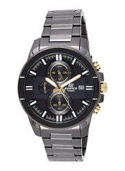 Casio Edifice Analog Watch for Men with Stainless Steel Band, Water Resistance and Chronograph, EFR-543BK-1A9VUDF, Grey-Black