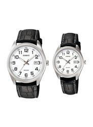 Casio Enticer Analog Quartz Couple Unisex Watch Set with Leather Band, Water Resistant, MTP/LTP-1302L-7B, Black-White