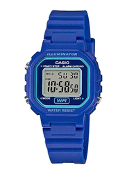 Casio Illuminator Digital Quartz Watch for Women with Resin Band, Water Resistant, LA-20WH-2A, Blue
