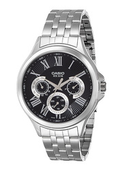 Casio Enticer Analog Quartz Watch for Men with Stainless Steel Band, Water Resistant with Chronograph, MTP-E308D-1AVDF, Silver-Black/Silver